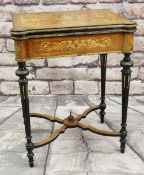 VICTORIAN LOUIS XVI STYLE EBONISED KINGWOOD MARQUETRY & GILT METAL MOUNTED CARD TABLE, foldover