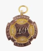 9CT GOLD PENDANT engraved with initials and date 1914-18, in vintage H. Samuel vintage box, 5.4gms