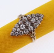 18CT GOLD MARQUISE DIAMOND ENCRUSTED RING, set with twenty-one old European cut diamonds of