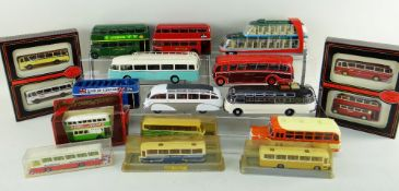 ASSORTED DIECAST BUSES, including 6x large 1:43 retro model buses, 3x Solido 1:50 model
