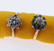 TWO 18CT GOLD FLOWER HEAD RINGS comprising emerald and diamond illusion set example and similar