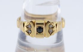 18CT GOLD SAPPHIRE & DIAMOND RING, ring size T / U, 4.9gms, in black square ring box Condition