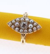 18CT GOLD MARQUISE DIAMOND & PEARL RING, the central diamond (0.25cts approx.) surrounded by sixteen