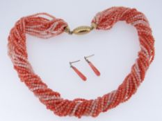 CORAL NECKLACE of twisted form with 18ct gold clasp together with 9ct gold set coral drop earrings
