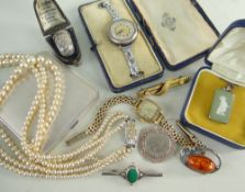ASSORTED LADIES JEWELLERY & ACCESSORIES including George VI silver compact, a vintage silver