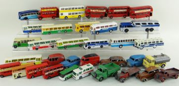ASSORTED DIECAST BUSES and VEHICLES, including some Dinky prewar cars and trucks, Lesney and