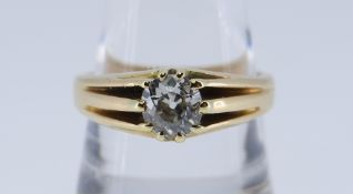 18CT GOLD SINGLE STONE DIAMOND RING, the old European cut stone 0.7cts approx., ring size U, 7.8gms,