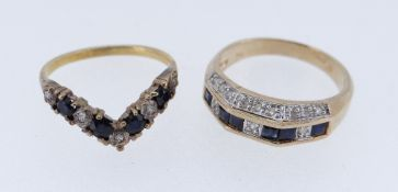 TWO SAPPHIRE & DIAMOND RINGS comprising 9ct gold angular ring and yellow metal wishbone ring, 5.4gms