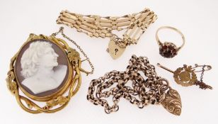 GROUP OF JEWELLERY, including 9ct gold and garnet cluster dress riing, gross wt. 3.8g, 9ct gold