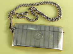 9CT GOLD CALLING CARD CASE of curved rectangular form, engraved with initials with 9ct gold