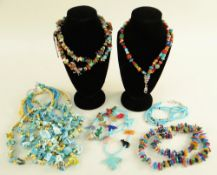 COLLECTION OF NATIVE AMERICAN PUEBLO JEWELLERY, including hardstone, dyed shell, sterling silver,
