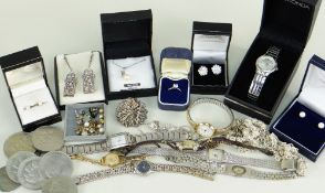 ASSORTED JEWELLERY, SILVER, COINS & WATCHES comprising 14k gold semi-precious single stone ring,