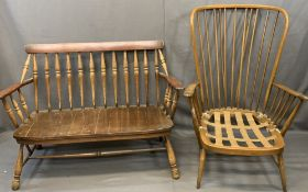 ERCOL STICK BACK ARMCHAIR and a spindle back wood seated couch, unbranded, 103cms H, 76cms W, 48.