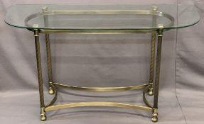 MODERN GLASS TOP & SATIN BRASS EFFECT CONSOLE TABLE, 68.5cms H, 122cms W, 45.5cms D