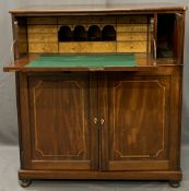 REGENCY MAHOGANY SECRETAIRE CHEST with boxwood stringing, the upper drop-down drawer front opening