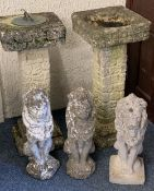 ORNAMENTAL GARDEN WARE, FIVE ITEMS to include a square top bird bath and sun dial on matching column