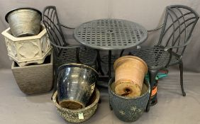 GARDEN RELATED ITEMS to include a metalwork circular top table and two armchairs, Bosch Long Reach