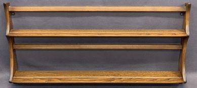 ERCOL MEDIUM ELM WALL RACK with original label, 49.5cms H, 96.5cms W