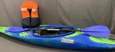 RPM DAGGER SINGLE PERSON CANOE WITH OAR & LIFE JACKET, 272cms L, 58cms W