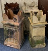 FOUR VARIOUS VINTAGE CHIMNEY POTS all having crown form tops, 76.5cms H the tallest