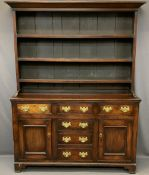 CIRCA 1850 STAINED PINE WITH MAHOGANY DRAWER FRONT WELSH DRESSER, the three shelf rack with wide