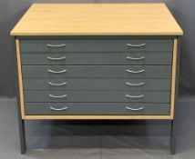 MODERN ARCHITECTS/ARTISTS PLAN CHEST, lightwood limed oak with steel frame and six granite effect
