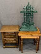 QUALITY REPRODUCTION CAST IRON STICK STAND, small oak three drawer chest and two modern pine side