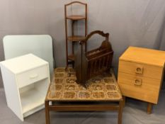 VINTAGE & LATER FURNITURE PARCEL, 6 ITEMS to include a three-tier folding mahogany cake stand,