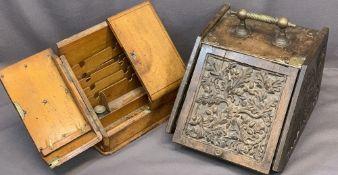 VINTAGE OAK DESKTOP STATIONERY BOX and a carved oak fireside coal box