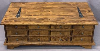 LAURA ASHLEY ANTIQUE EFFECT LIDDED COFFEE TABLE, the back having a full bank of twelve opening