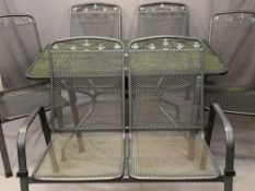 MODERN METALWORK 6 PIECE GARDEN FURNITURE SET comprising rectangular top table, 70.5cms H, 130.