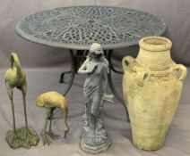 METAL CIRCULAR TOP GARDEN TABLE, two ironwork bird ornaments, figural ornament and a Greek style