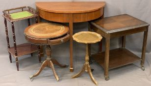 VINTAGE & LATER FURNITURE PARCEL, FIVE PIECES to include a mahogany half-moon hall table, 78cms H,