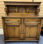 GOOD OAK JACOBEAN STYLE BUFFET SIDEBOARD having a three panel back with bulbous front supports above