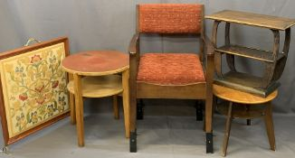 VINTAGE & LATER FURNITURE PARCEL, FIVE ITEMS to include a modern tapestry firescreen, two circular