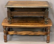 TWO REPRODUCTION OAK EFFECT COFFEE TABLES, 47cms H, 120cms L, 58.5cms W and 43cms H, 101cms L, 54cms