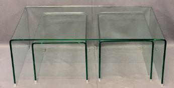 ULTRA MODERN HEAVY GLASS SET OF THREE TABLES, 40cms H, 108.5cms W, 60cms D the largest