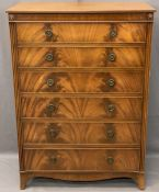 QUALITY REPRODUCTION MAHOGANY 6 DRAWER CHEST, GT Rackstraw Ltd Worcester label, 121cms H, 86cms W,