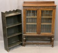 OAK GLAZED TWO DOOR BOOKCASE and one other open example in dark oak, 106cms overall H, 76cms W,