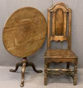 ANTIQUE MAHOGANY BIRDCAGE TRIPOD TABLE and an antique oak hall chair, 73cms diameter top, 67.5cms