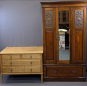 VINTAGE BEDROOM FURNITURE, TWO ITEMS to include a single mirrored door wardrobe with carved panels