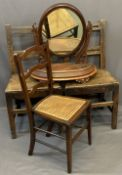 ANTIQUE & LATER FURNITURE PARCEL, FOUR ITEMS to include a matching pair of oak farmhouse chairs,