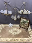 HANDMADE INDIAN TUFTED RUG, brass effect ceiling chandeliers and an oak framed woolwork tapestry