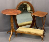 VINTAGE FURNITURE PARCEL, four items to include a walnut long footstool with carved feet, 19cms H,