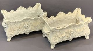 LION MASK & SWAG DECORATED CAST IRON PLANTERS, A PAIR, Rococo style with side carry handles, both