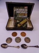 HONG KONG KENNEL CLUB SILVER & BRONZE MEDALLIONS and two teaspoons, Pan books, James Bond