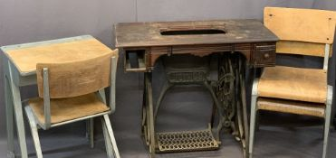 ESAVIAN METAL FRAMED CHILD'S DESK & THREE STACKING CHAIRS with a Jones sewing machine table base,
