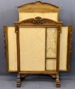EMPIRE STYLE WALNUT ADJUSTABLE FIRESCREEN having carved leaf and fruit detail under a shaped top and
