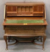 QUALITY WARINGS STAMPED STRING INLAID MAHOGANY FALL-FRONT BUREAU, the fall with boxwood inlaid