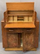 ART DECO WALNUT BUREAU CABINET with opening action to the drop-down front, interior pigeonholes over